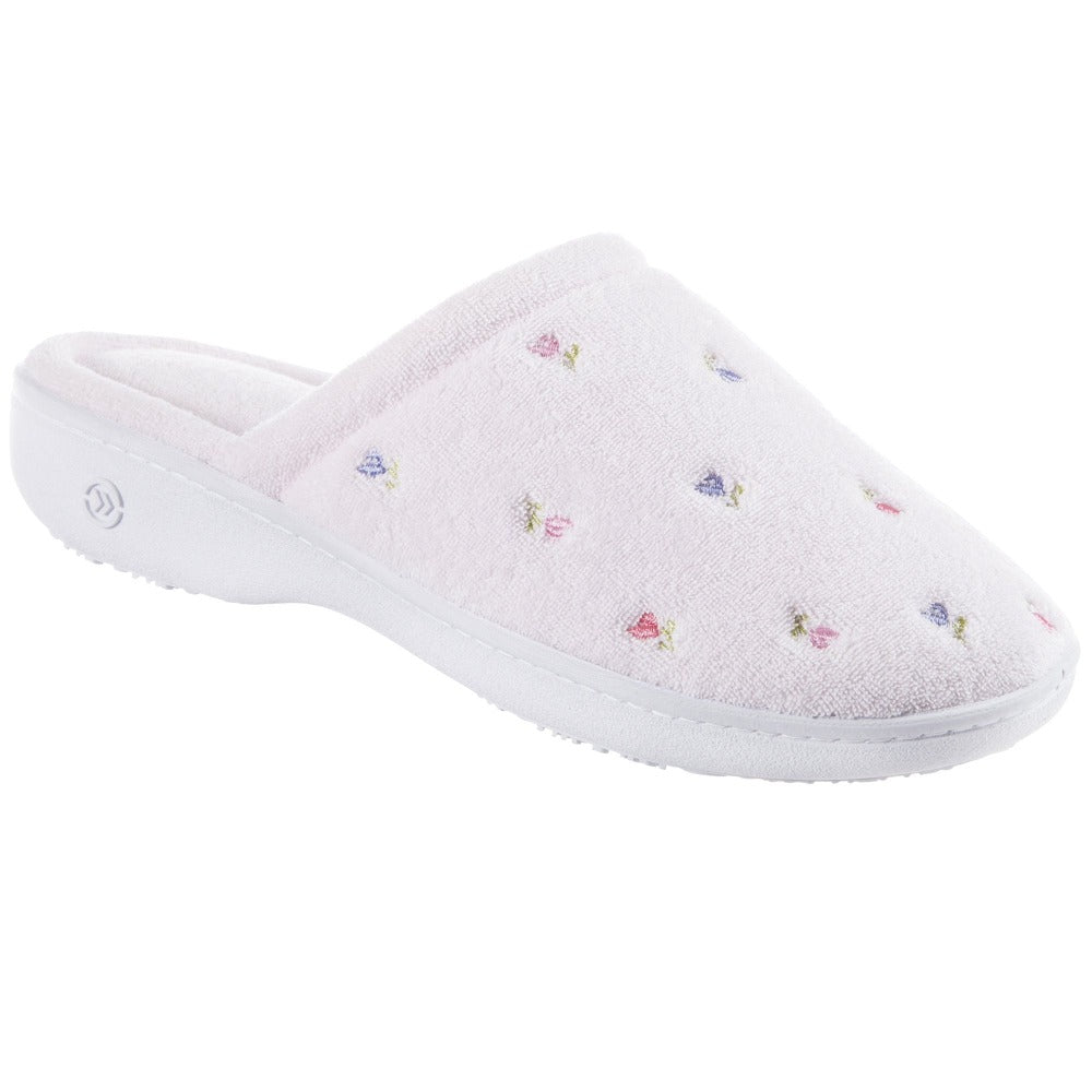 Women's Isotoner Embroidered Floral Terry Clog Slippers