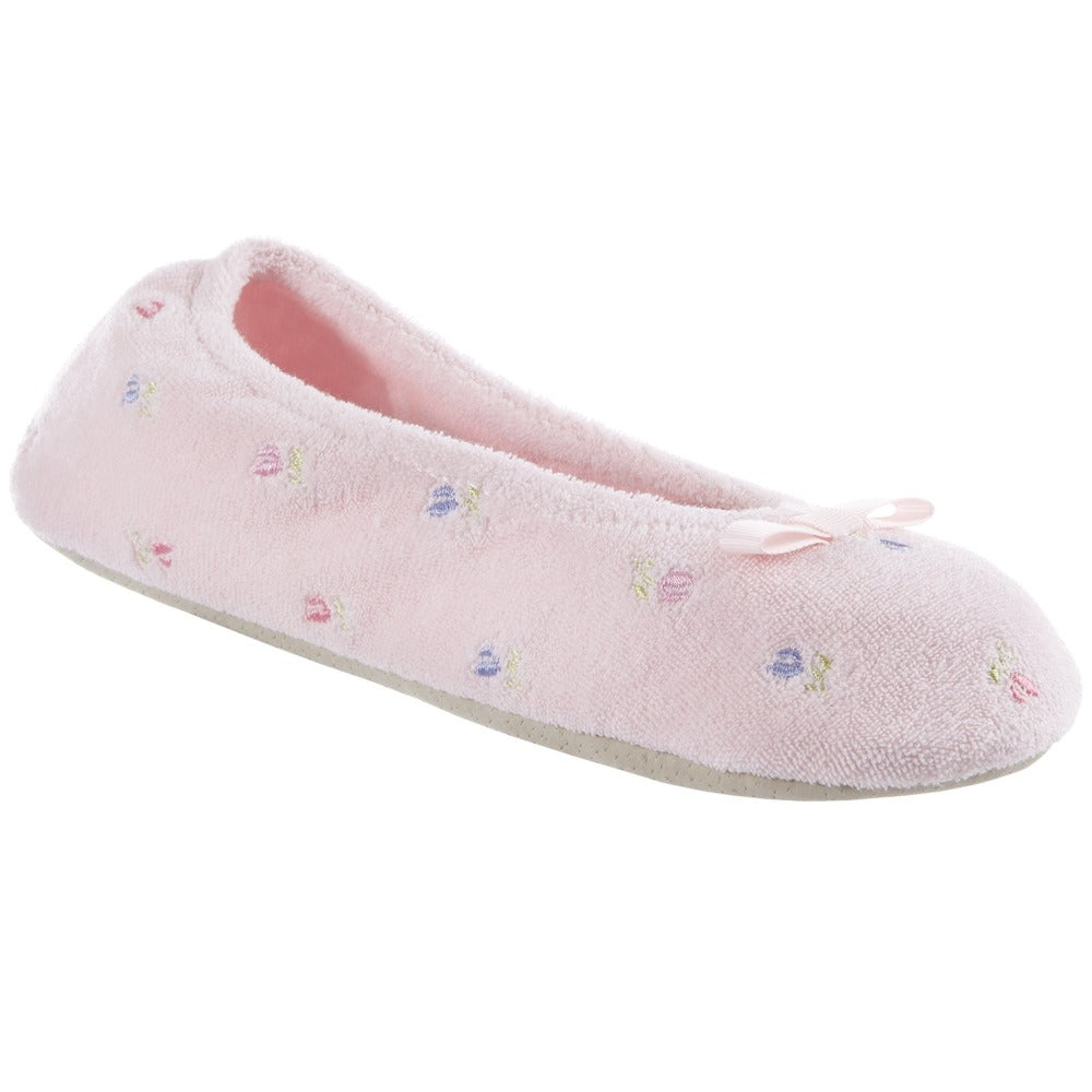 Women's Signature Embroidered Floral Terry Ballerina Slippers in Pink Left Angled View