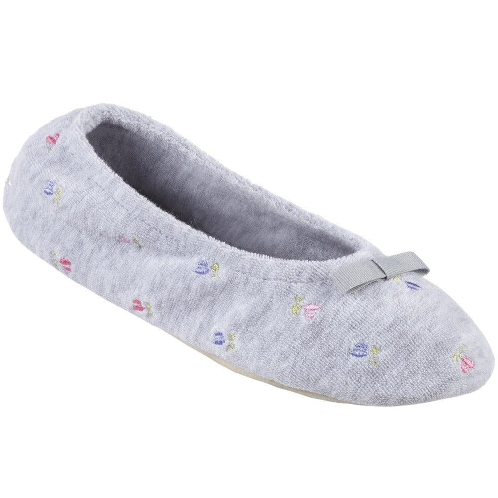 Women's Signature Embroidered Floral Terry Ballerina Slippers in Heather Left Angled View
