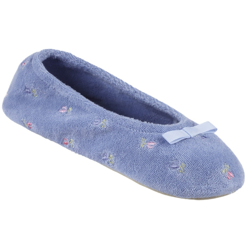 Women's Signature Embroidered Floral Terry Ballerina Slippers in Periwinkle Left Angled View