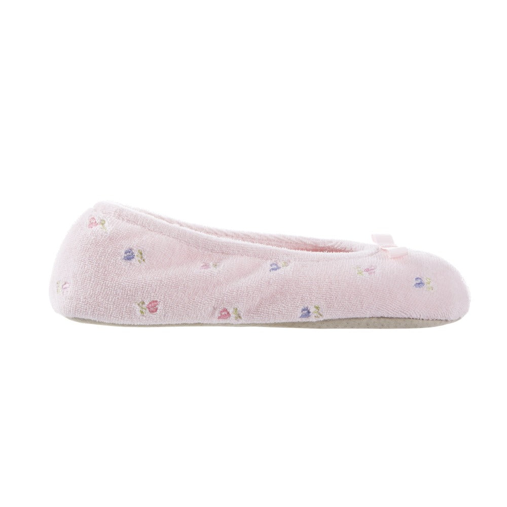 Women's Signature Embroidered Floral Terry Ballerina Slippers in Pink Profile