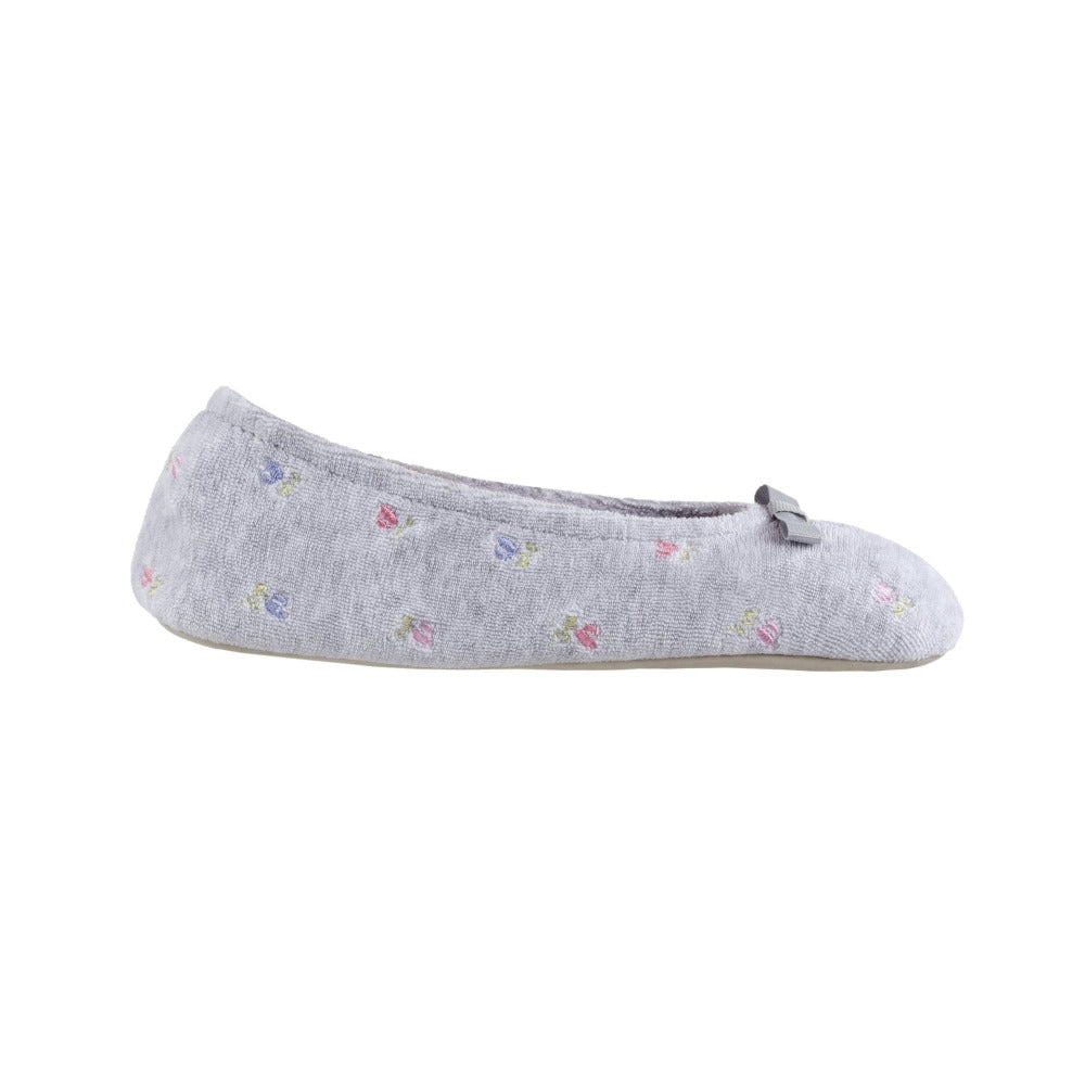 Women's Signature Embroidered Floral Terry Ballerina Slippers in Heather Profile