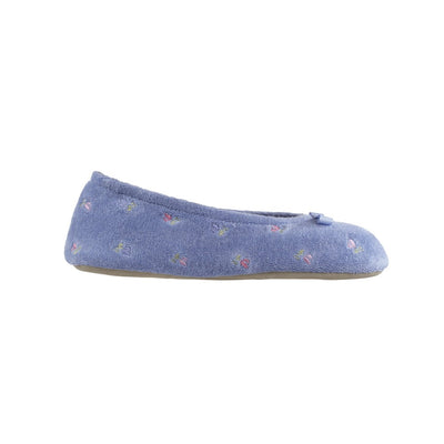 Women's Signature Embroidered Floral Terry Ballerina Slippers in Periwinkle Profile