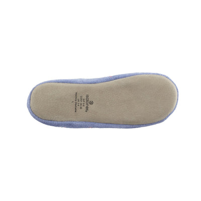 Women's Signature Embroidered Floral Terry Ballerina Slippers in Periwinkle Bottom Sole