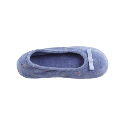Women's Signature Embroidered Floral Terry Ballerina Slippers in Periwinkle Inside Top View