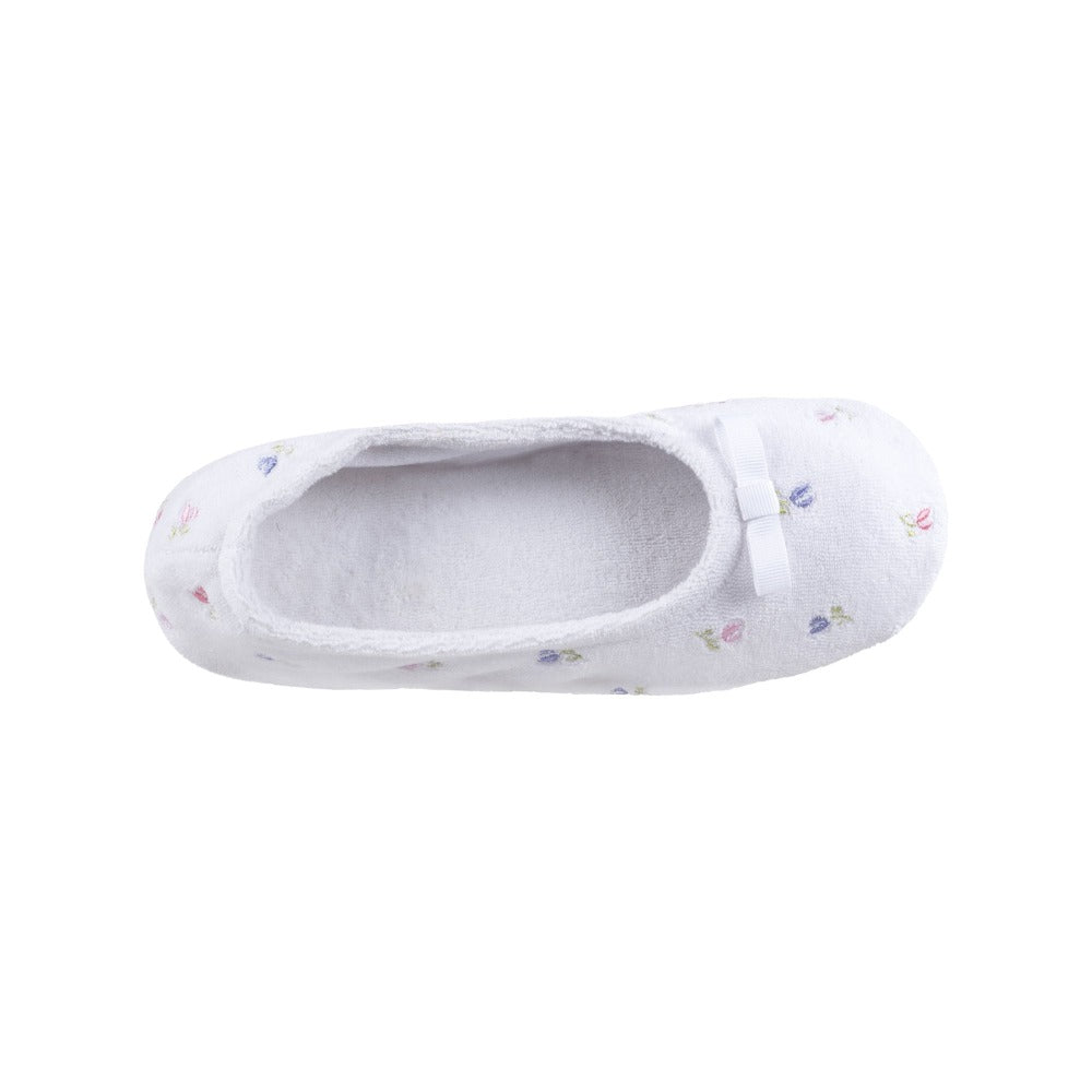 Women's Signature Embroidered Floral Terry Ballerina Slippers in White Inside Top View