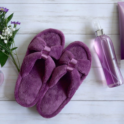 Signature Women's Microterry with Satin X-Slide Slippers in Violet Lifestyle Image