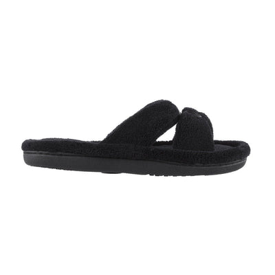 Signature Women's Microterry W/Satin X-Slide Slippers in Black Profile View