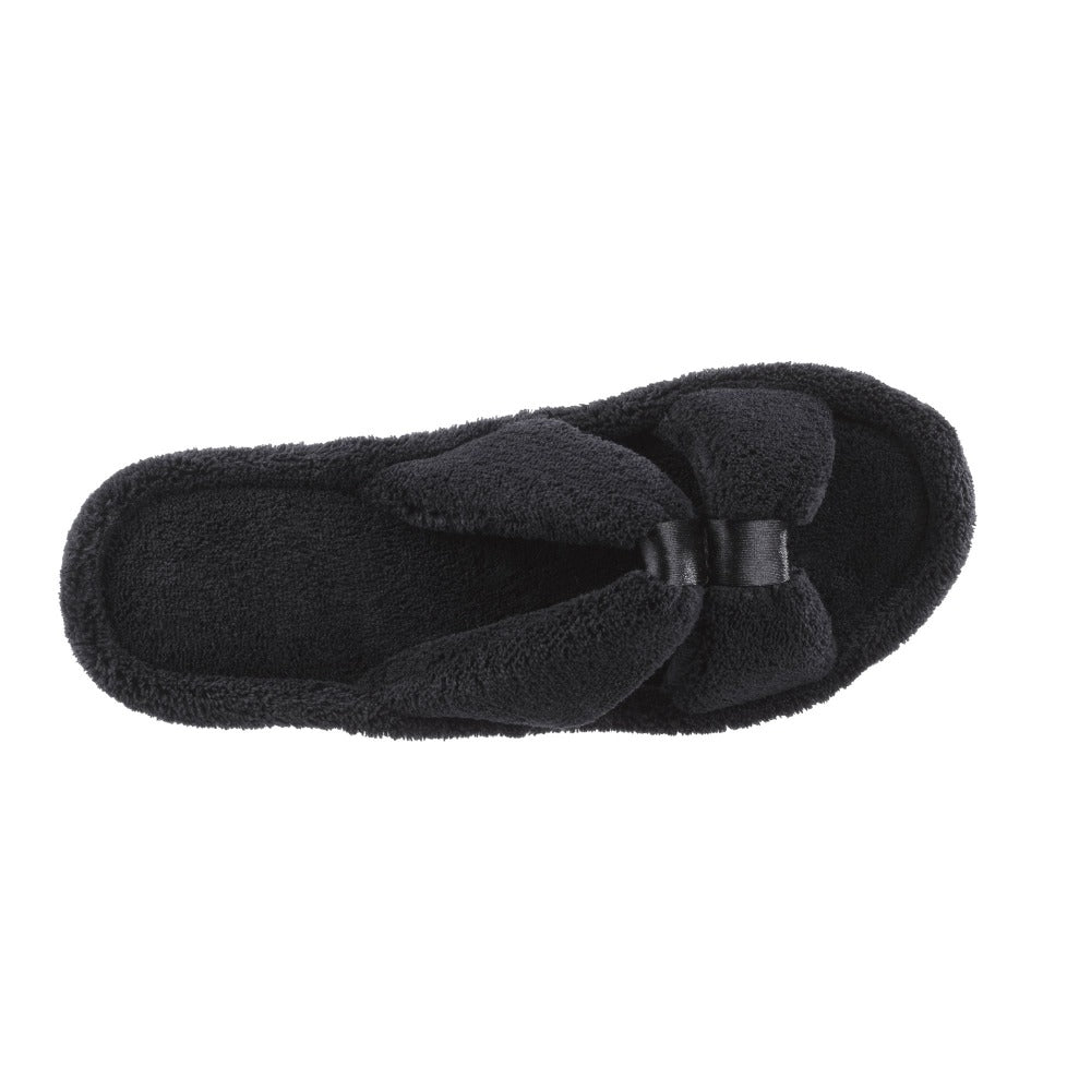 Signature Women's Microterry W/Satin X-Slide Slippers in Black Top View