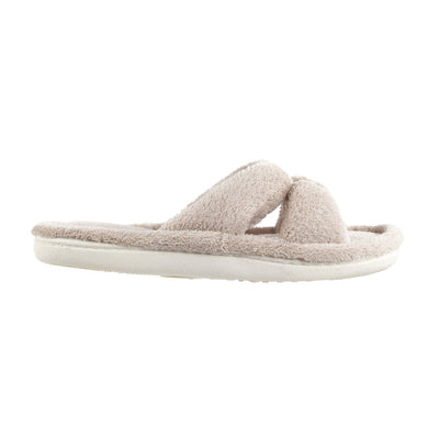 Signature Women's Microterry W/Satin X-Slide Slippers in Taupe Profile View