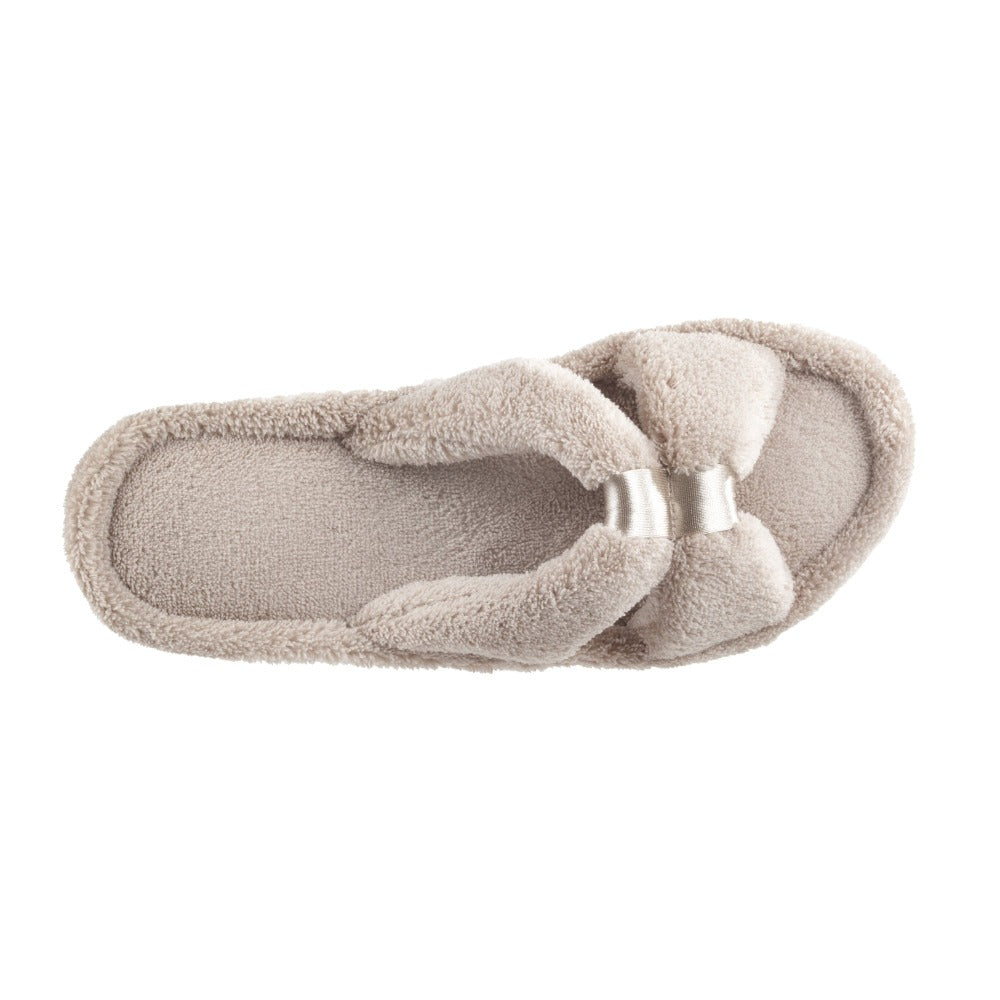 Signature Women's Microterry W/Satin X-Slide Slippers in Taupe Top View