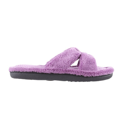 Signature Women's Microterry W/Satin X-Slide Slippers in Violet Profile View