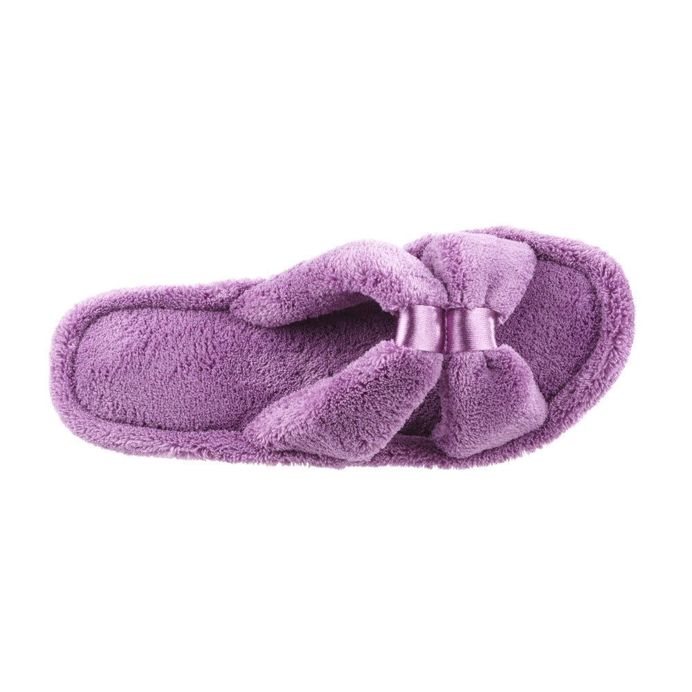 Signature Women's Microterry W/Satin X-Slide Slippers in Violet Top View