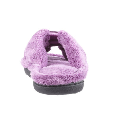 Signature Women's Microterry W/Satin X-Slide Slippers in Violet Heel View