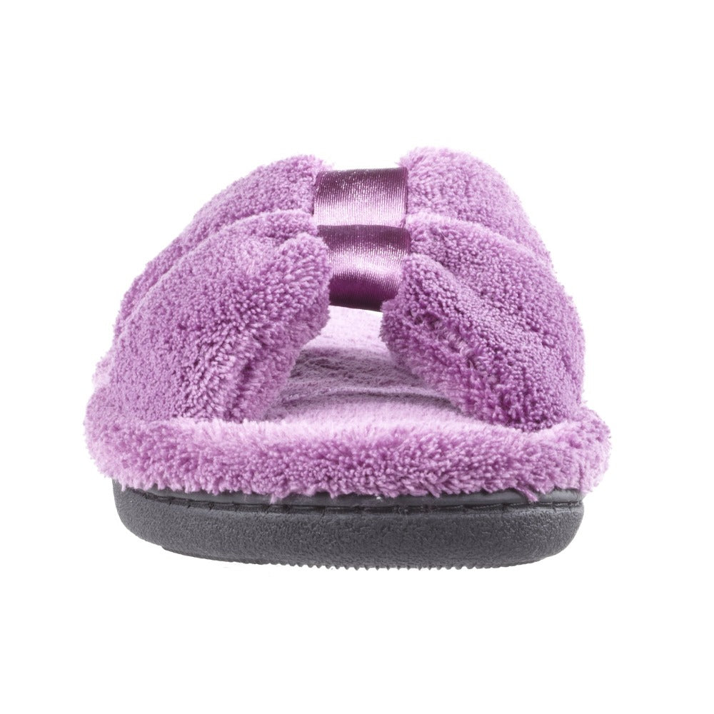 Signature Women's Microterry W/Satin X-Slide Slippers in Violet Toe View