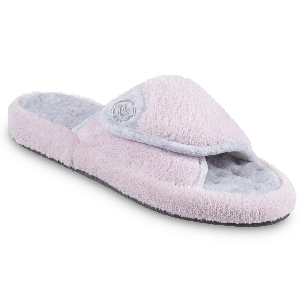 Signature Women's Microterry Spa Slide Slippers in Petal Pink Right Angled View
