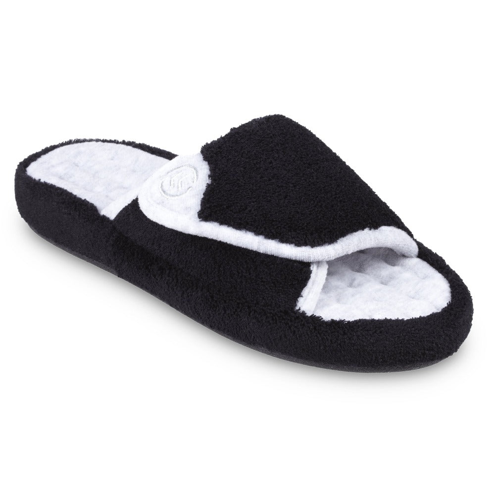 Signature Women's Microterry Spa Slide Slippers in Black Right Angled View