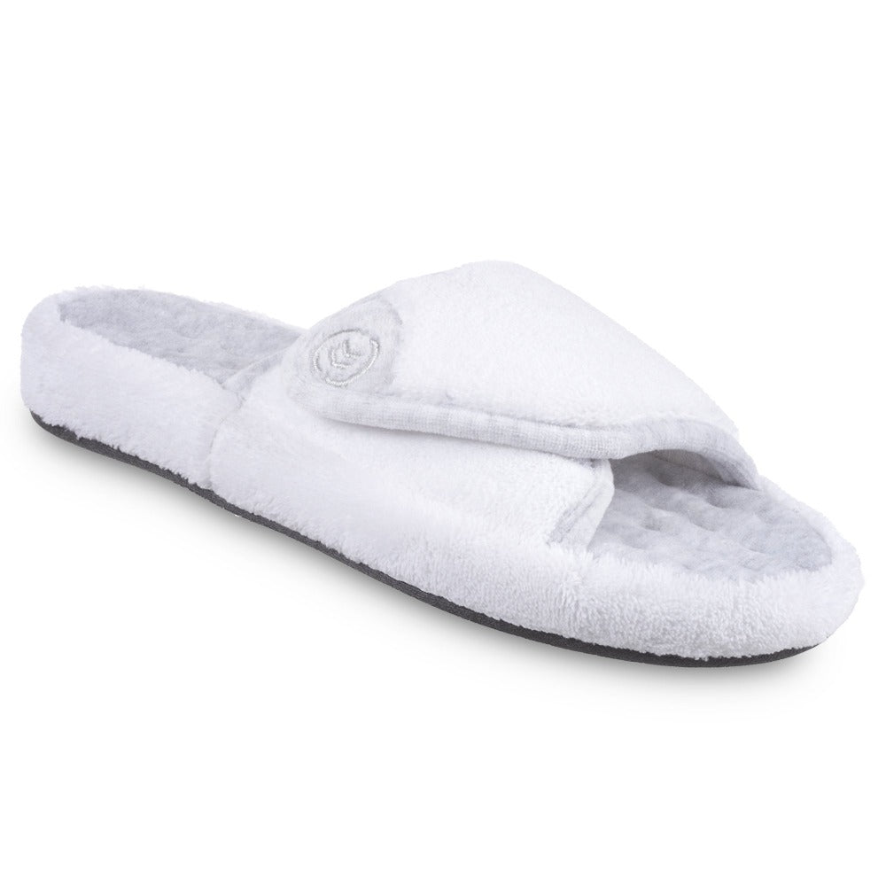 Signature Women's Microterry Spa Slide Slippers in White Right Angled View