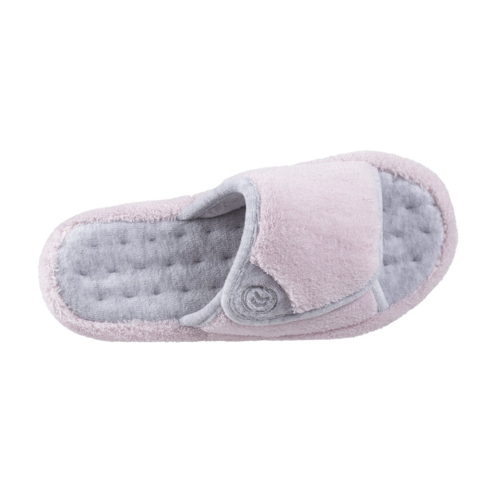 Signature Women's Microterry Spa Slide Slippers in Petal Pink Top View