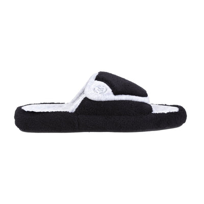 Signature Women's Microterry Spa Slide Slippers in Black Profile View