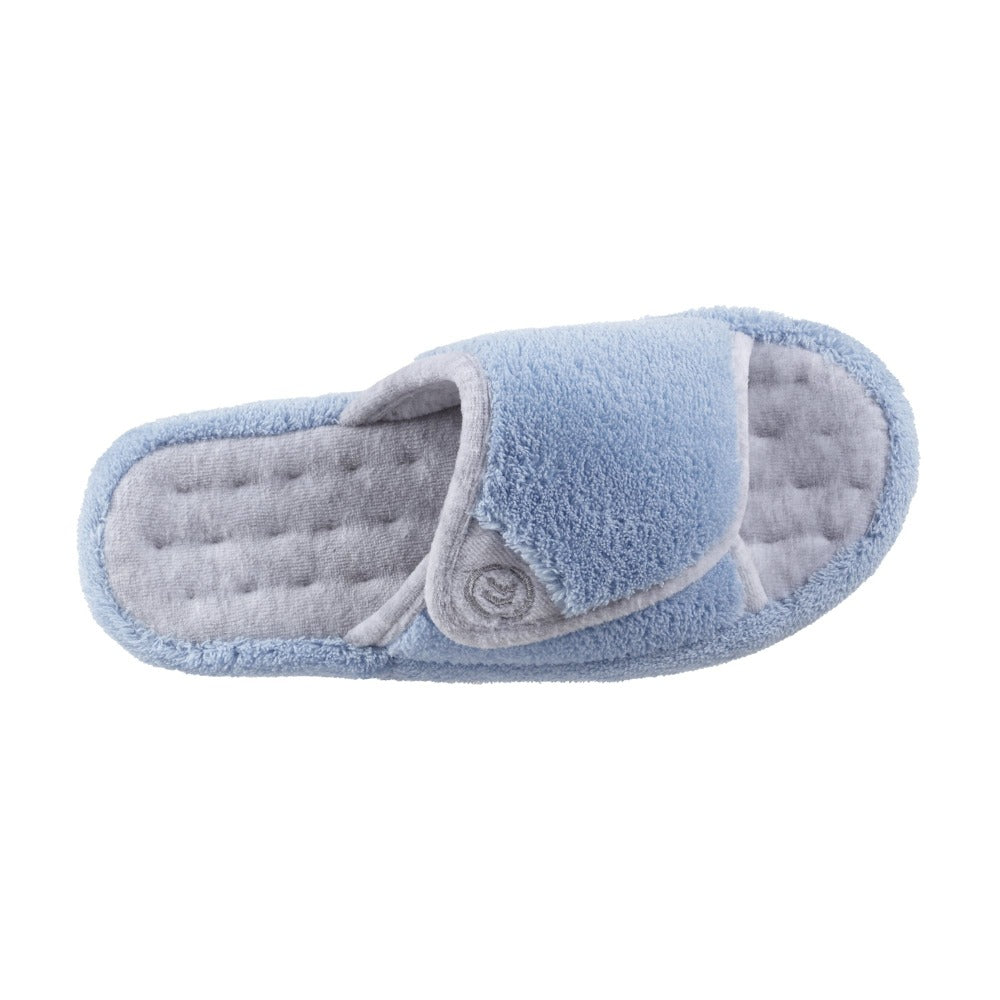 Signature Women's Microterry Spa Slide Slippers Blue Moon Top View
