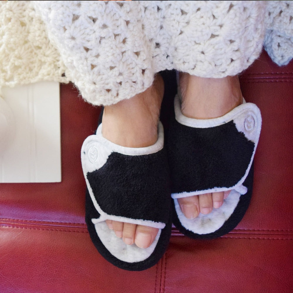 Signature Women's Microterry Spa Slide Slippers in Black on Model