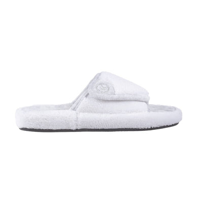 Signature Women's Microterry Spa Slide Slippers in White Profile View