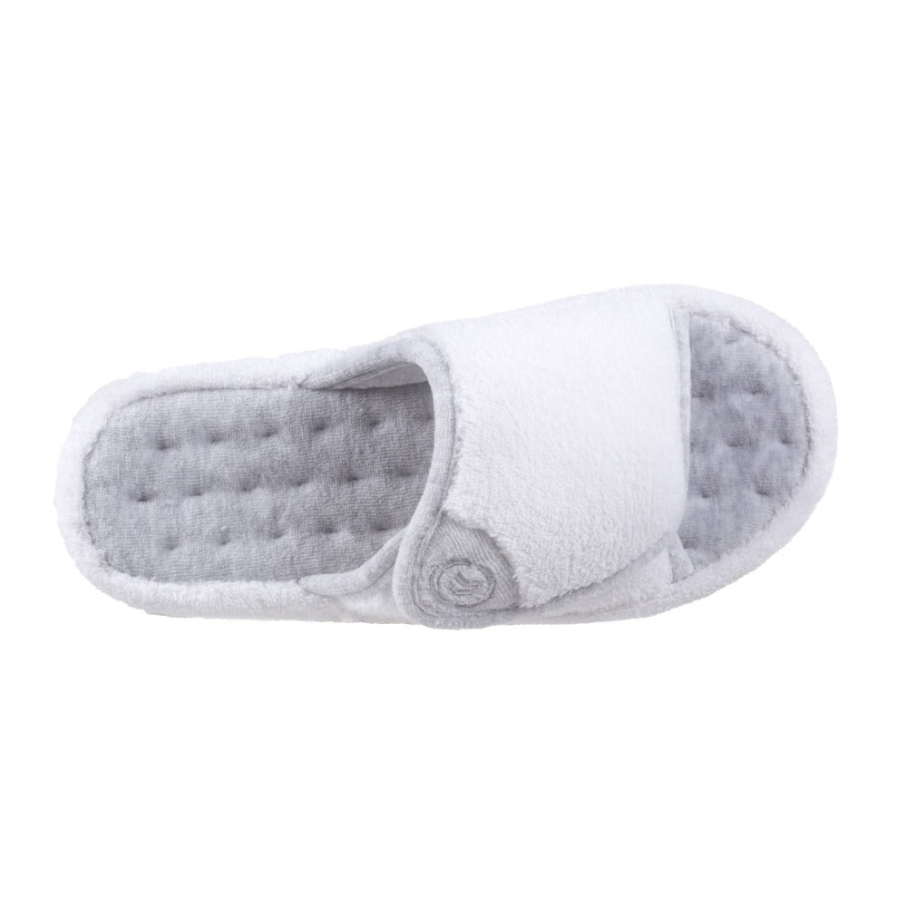 Signature Women's Microterry Spa Slide Slippers in White Top View
