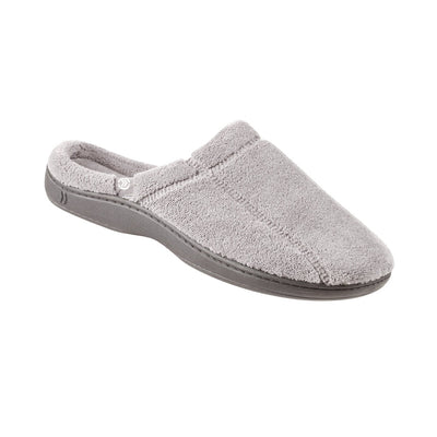 Signature Men's Microterry Hoodback Slippers in Charcoal Right Angled View