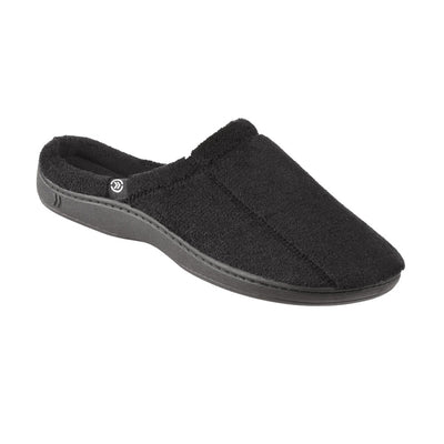 Signature Men's Microterry Hoodback Slippers in Black Right Angled View