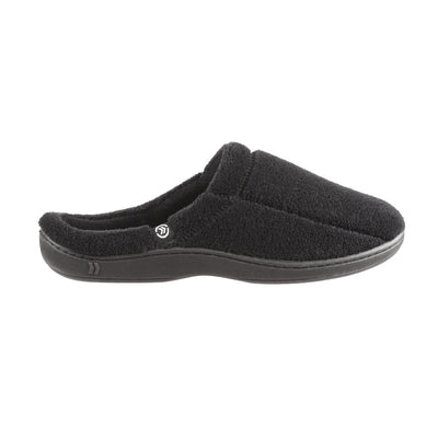 Signature Men's Microterry Hoodback Slippers in Black Side View