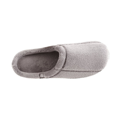 Signature Men's Microterry Hoodback Slippers in Charcoal (Grey) Top View