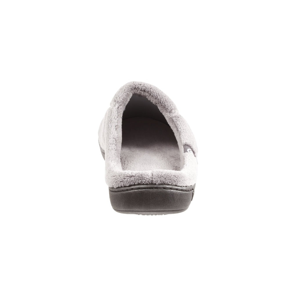 Signature Men's Microterry Hoodback Slippers in Charcoal (Grey) Heel View
