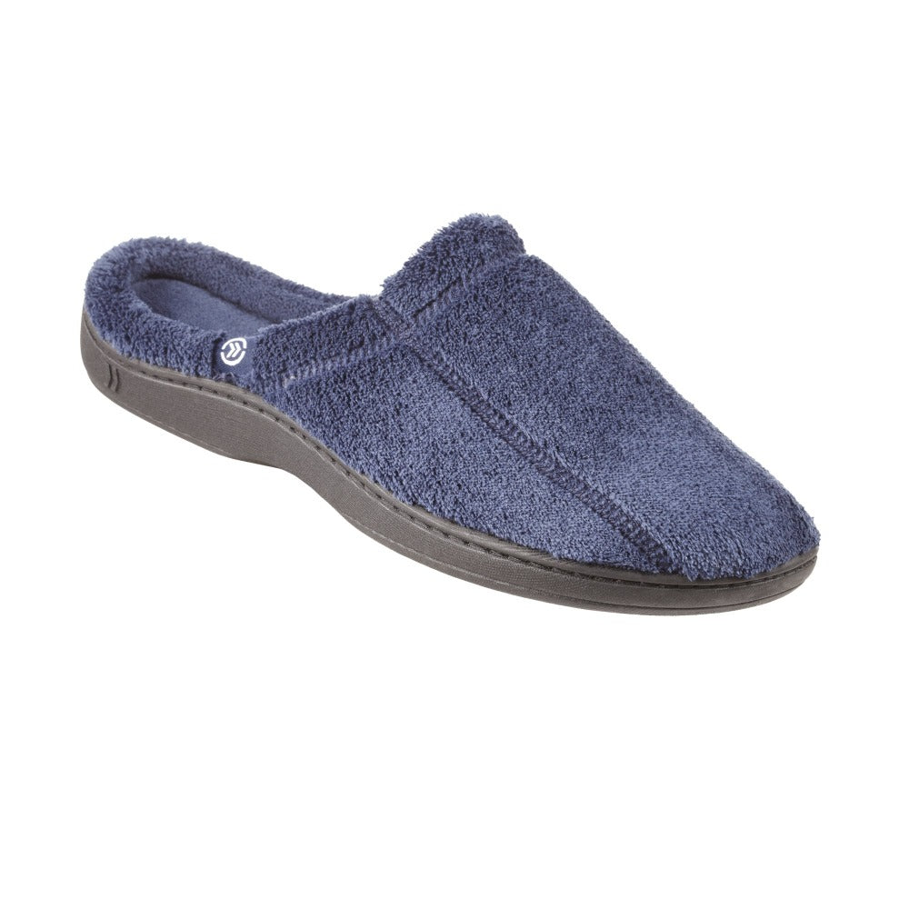 Signature Men's Microterry Hoodback Slippers in Navy Blue Right Angled View