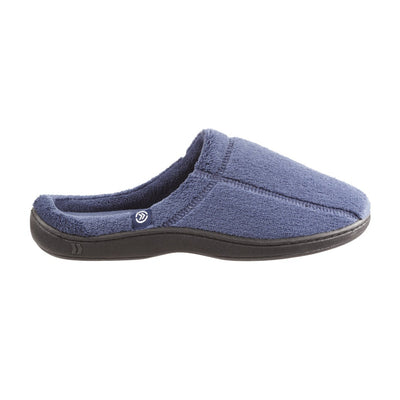 Signature Men's Microterry Hoodback Slippers in Navy