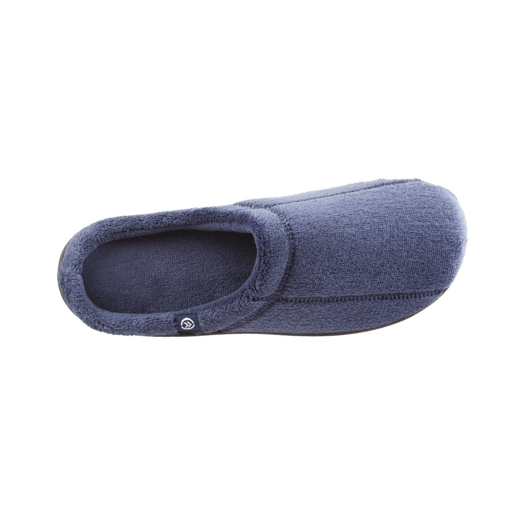 Signature Men's Microterry Hoodback Slippers in Navy Top View
