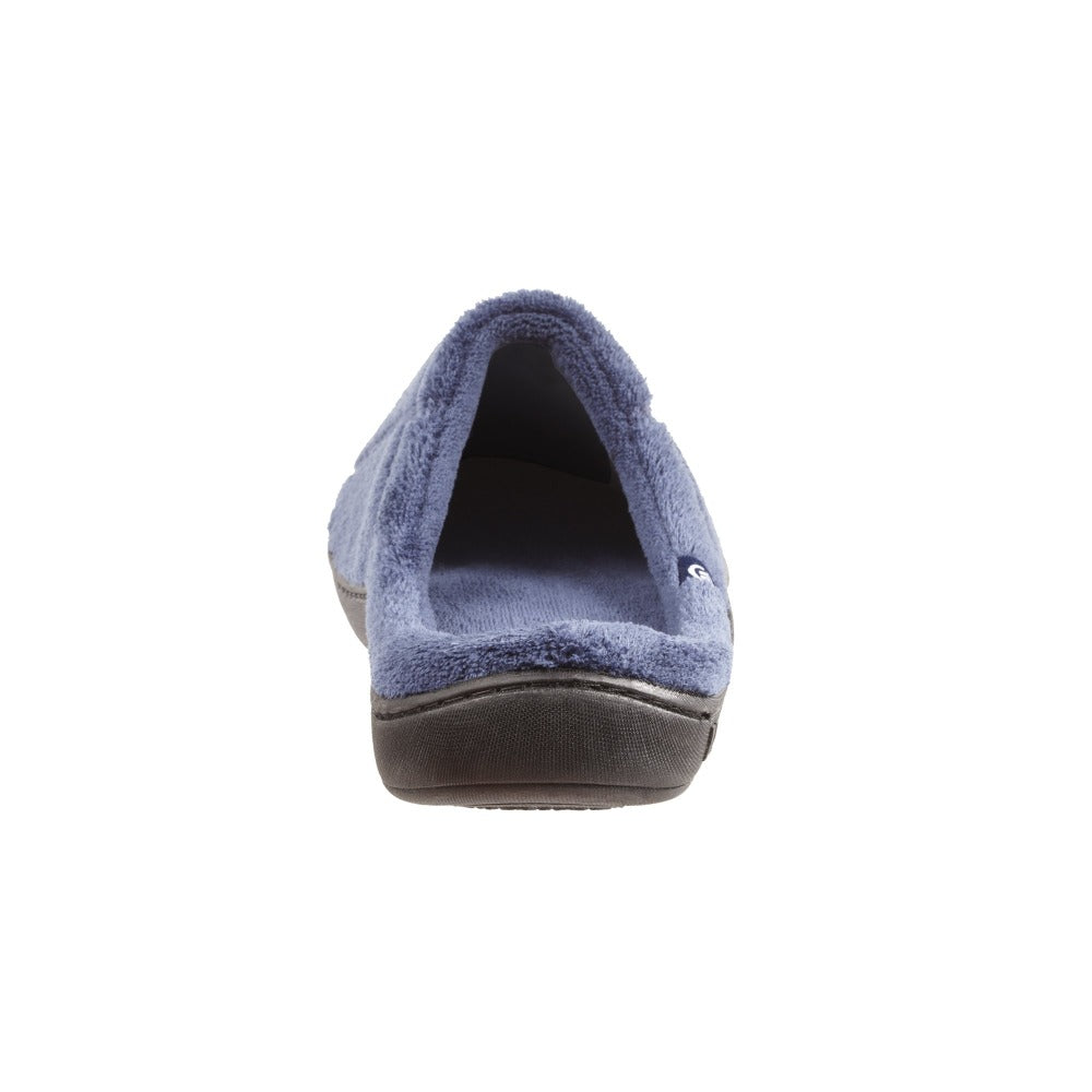 Signature Men's Microterry Hoodback Slippers  in Navy Blue Heel View