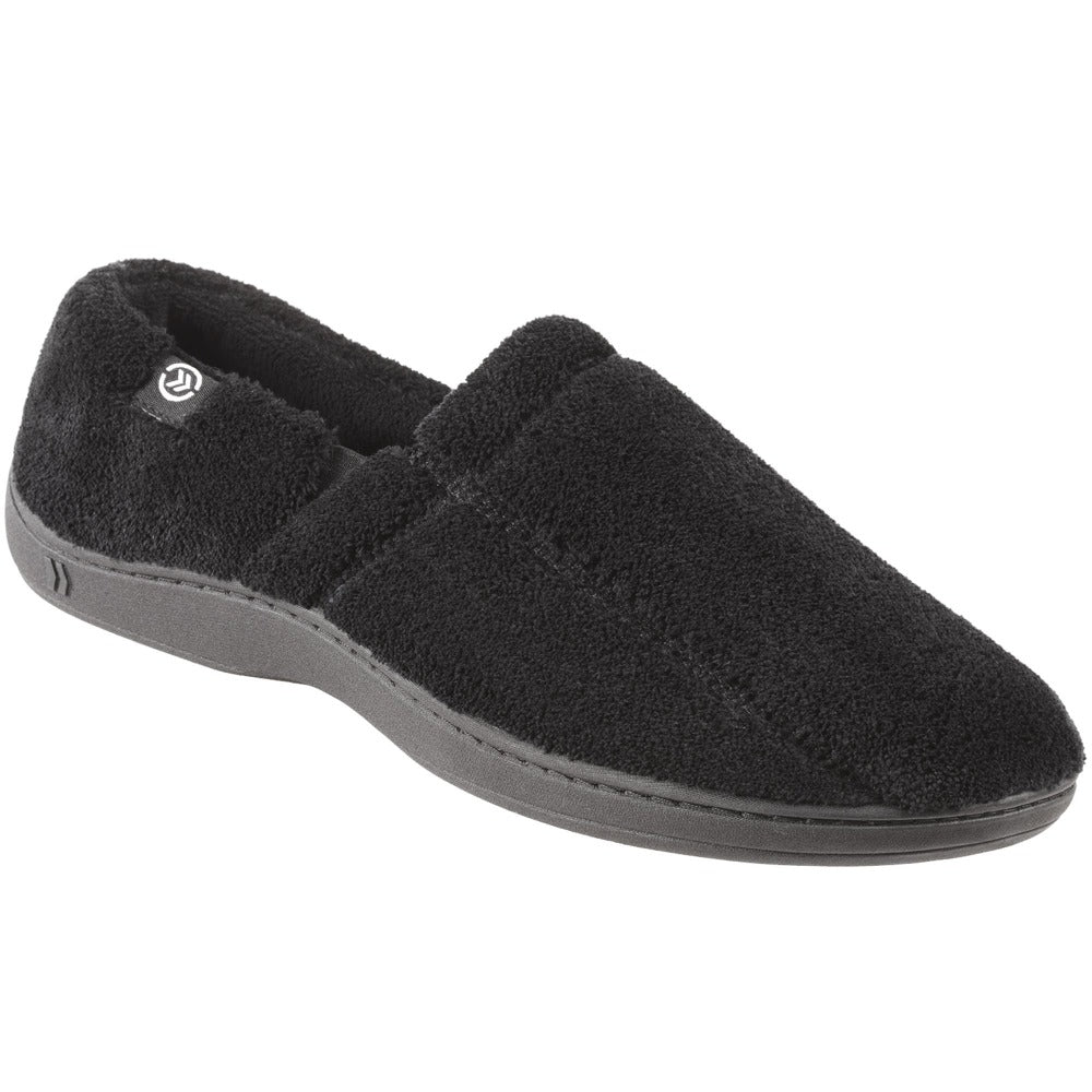 Signature Men's Microterry Slip On Slippers Black Right angled View