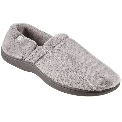 Signature Men's Microterry Slip On Slippers Charcoal Right Angled View