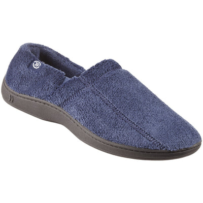 Signature Men's Microterry Slip On Slippers in Navy Right Angled View