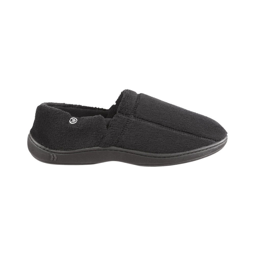 Signature Men's Microterry Slip On Slippers Black Profile