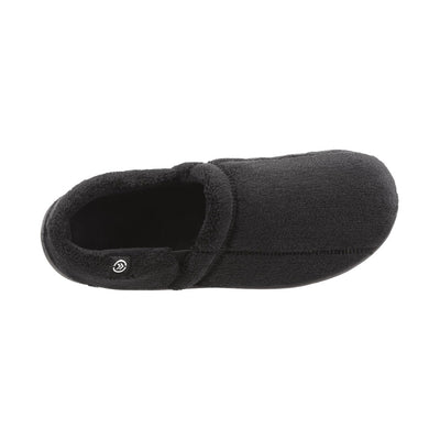 Signature Men's Microterry Slip On Slippers Black Inside Top View