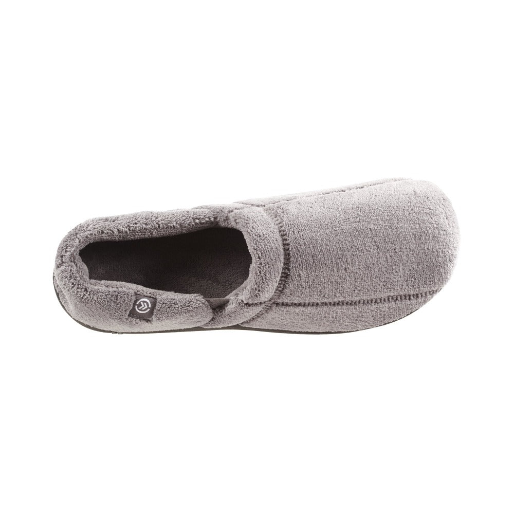 Signature Men's Microterry Slip On Slippers Charcoal Inside Top View