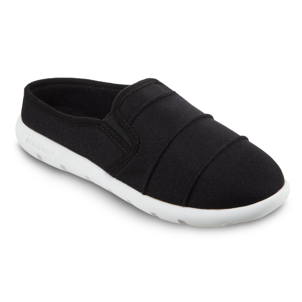 Women's Zenz Matte Satin Pintuck Hoodback Slip-On in Black Right Angled View