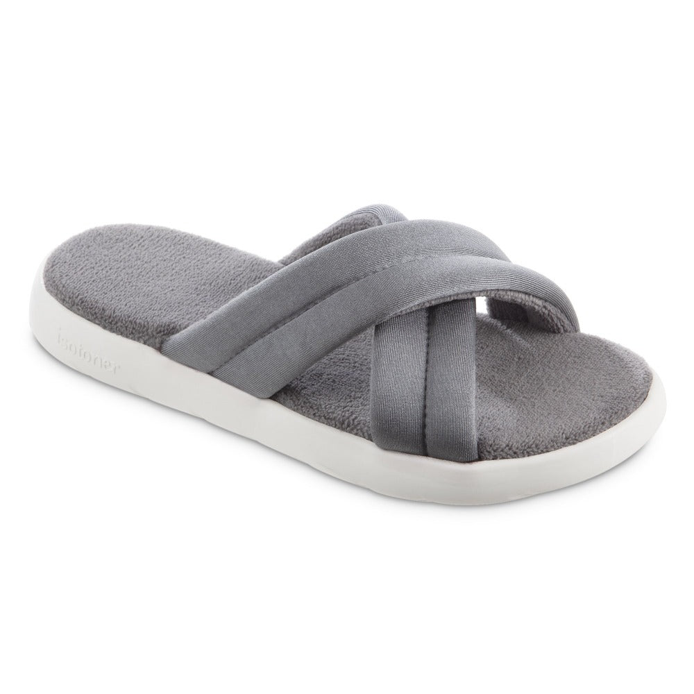 Women's Zenz Satin Pintuck Slide in Ash Right Angled View