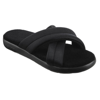 Women's Zenz Satin Pintuck Slide in Black Right Angled View