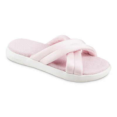 Women's Zenz Satin Pintuck Slide in Evening Sands Pink Right Angled View
