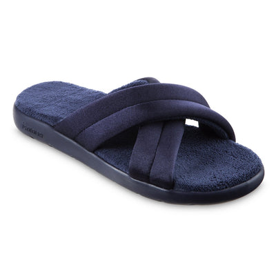Women's Zenz Satin Pintuck Slide in Navy Blue Right Angled View