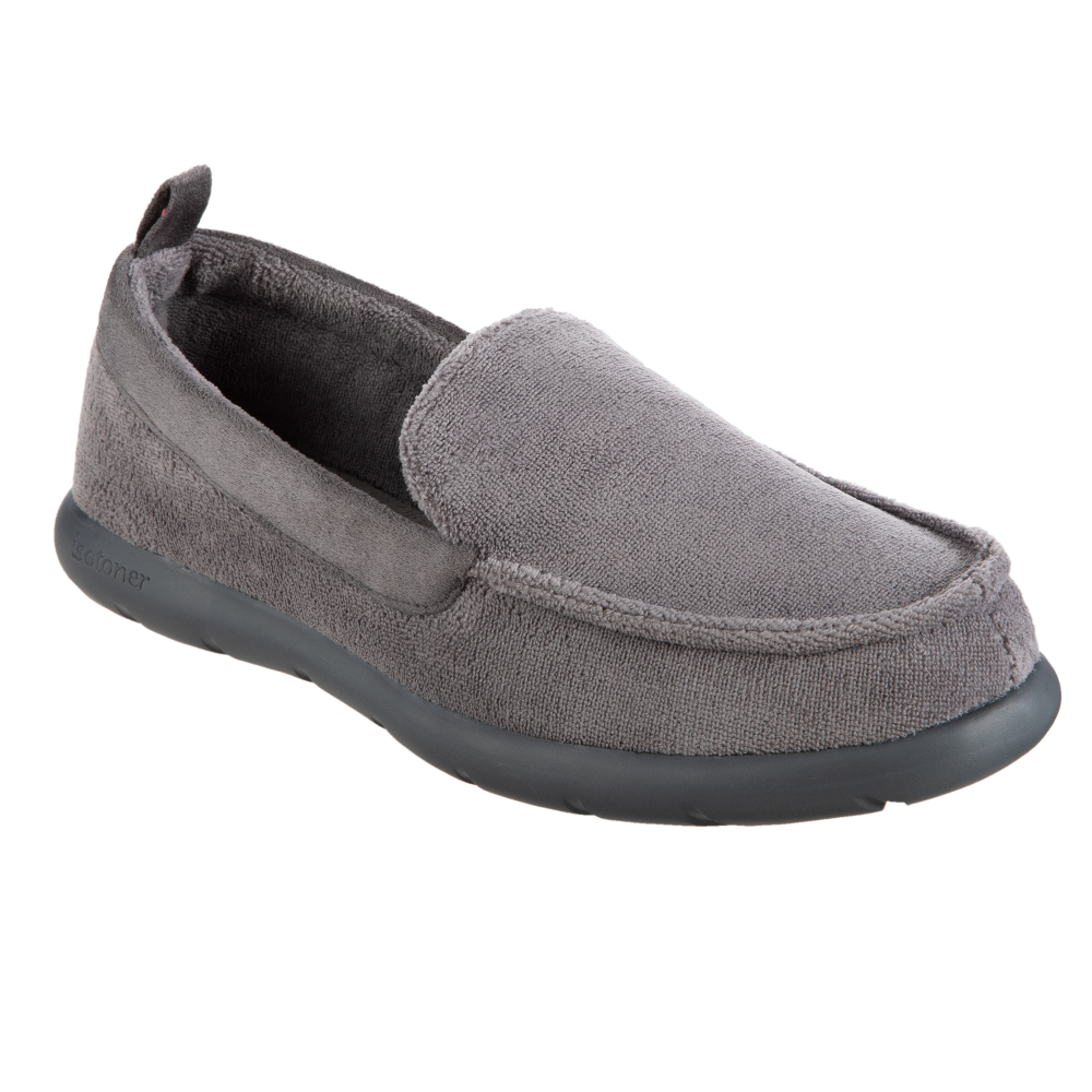 Isotoner with Everywear™ Men's Microterry Moccasin in Ash Right Angled View