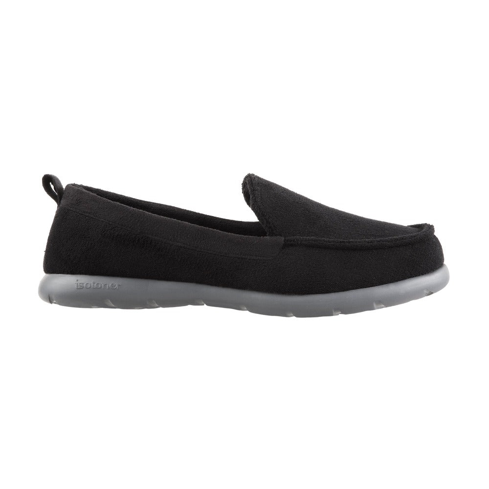 Isotoner with Everywear™ Men's Microterry Moccasin in Black  Profile